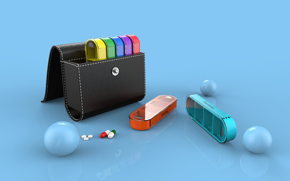 BS0342J-Leather Weekly Pill Organizer